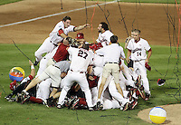 South Carolina players celebrate after beating Florida 5-2 in Game 2 of the College World Series finals to win the title on June 28, 2011 in Omaha, Neb. (Photo by Michelle Bishop)..