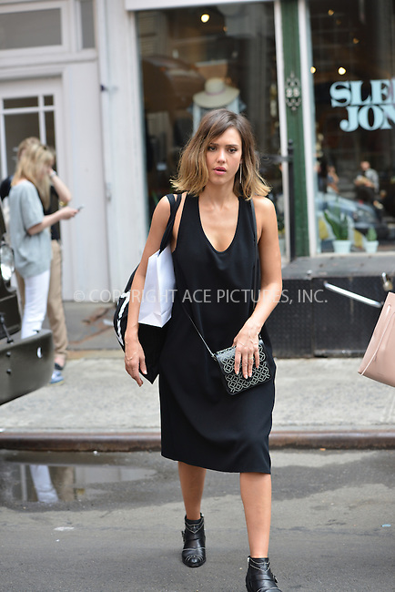 WWW.ACEPIXS.COM<br /> <br /> June 9 2015, New York City<br /> <br /> Actress Jessica Alba enjoys a walk with friends in SoHo on June 9 2015 in New York City.<br /> <br /> <br /> Please byline: Curtis Means/ACE Pictures<br /> <br /> ACE Pictures, Inc.<br /> www.acepixs.com, Email: info@acepixs.com<br /> Tel: 646 769 0430