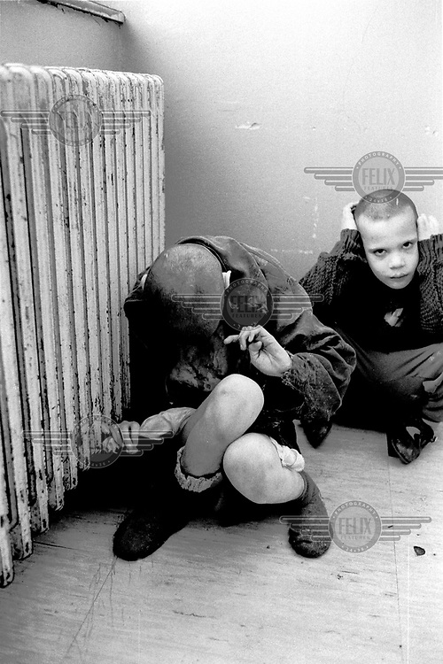 Young inmates at a mental asylum near the village of Racak.