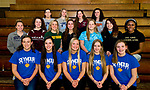 WATERBURY, CT-112117JS23- Members of the All-NVL swim team, from row, from left, Hannah Tricarico-Seymour; Stephanie Tabalka-Seymour: Sierra Cripps-Seymour; Ania Mrozik-Seymour and Olivia Velleco-Seymour. Second row, from left, Alex Gallino-Sacred Heart; Elizabeth Brown-Sacred Heart; Madelynn Mowan-Holy Cross; Dia Gawronski-Woodland; Camille Terrell-Woodland; Brooks Pope-Woodland and Camille Terrell-Woodland. Back row, from left. Natalie Hinton-Oxford; Emily Darroch-Oxford; Julia McCarthy-Torrington and Kelsey DeJesus-Watertown. <br /> Jim Shannon Republican-American