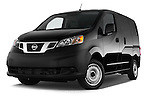 Stock pictures of low aggressive front three quarter view of2014 Nissan NV 200 Cargo S 5 Door Van Low Aggressive