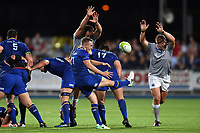 Nick McCarthy of Leinster Rugby box-kicks the ball. Pre-season friendly match, between Leinster Rugby and Bath Rugby on August 25, 2017 at Donnybrook Stadium in Dublin, Republic of Ireland. Photo by: Patrick Khachfe / Onside Images