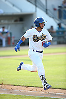 Keibert Ruiz (10) of the Rancho Cucamonga Quakes runs to first base during a game against the Stockton Ports at Loan Mart Field on July 16, 2017 in Rancho Cucamonga, California. Rancho Cucamonga defeated Stockton 9-1. (Larry Goren/Four Seam Images)
