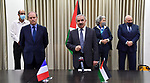 Palestinian Prime Minister Mohammad Ishtayeh attends the signing of a French support agreement of 10 million euros for health, water, energy and civil society institutions, in the West Bank city of Ramallah, on July 23, 2020. Photo by Prime Minister Office