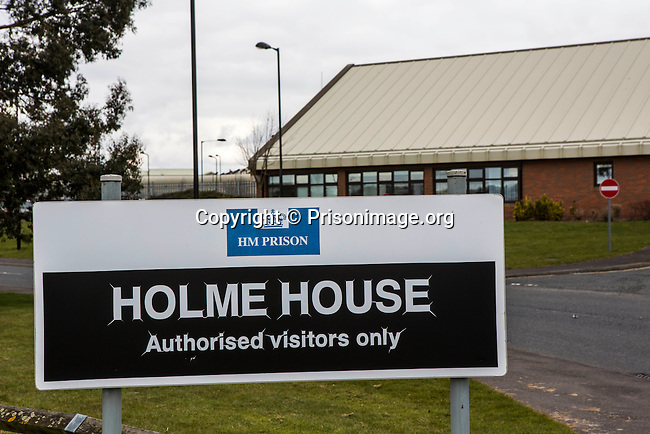The main sign to HMP Holme House. HMP Holme House is a large purpose built category B local prison for male adult prisoners, opened in 1992, who are either remanded in custody or convicted. It has capacity to hold 1212  prisoners. The prison is operated by Her Majesty's Prison Service.