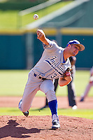 Dakota Bacus (31) of the Indiana State Sycamores delivers a pitch during a game against the Evansville Purple Aces in the 2012 Missouri Valley Conference Championship Tournament at Hammons Field on May 23, 2012 in Springfield, Missouri. (David Welker/Four Seam Images).