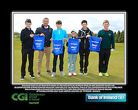 Douglas GC team with Bank of Ireland Official Morgan Whelan and CGI Participation Officer Jennifer Hickey with Junior golfers across Munster practicing their skills at the regional finals of the Dubai Duty Free Irish Open Skills Challenge at the Ballykisteen Golf Club, Limerick Junction, Co. Tipperary. 16/04/2016.<br /> Picture: Golffile | Thos Caffrey<br /> <br /> <br /> <br /> <br /> <br /> All photo usage must carry mandatory copyright credit (© Golffile | Thos Caffrey)
