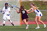 Torrance, CA 05/09/13 - Jennifer Maholchic (Oak Park #9) and Emilie East (Agoura #9) in action during the 2013 Los Angeles area Girls Varsity Lacrosse Championship.  Agoura defeated Oak Park 13-7.