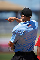 Home plate umpire Dillon Wilson during a game between the Fort Myers Miracle and the Clearwater Threshers on April 25, 2018 at Spectrum Field in Clearwater, Florida.  Clearwater defeated Fort Myers 9-5.  (Mike Janes/Four Seam Images)