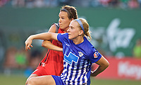 Portland, OR - Saturday May 27, 2017: Emily Menges, Natasha Dowie during a regular season National Women's Soccer League (NWSL) match between the Portland Thorns FC and the Boston Breakers at Providence Park.