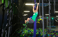 NWA Democrat-Gazette/BEN GOFF @NWABENGOFF<br /> Jeff Harris trains Friday, March 9, 2018, at High Rise Extreme Air Sports in Rogers. Harris, a former Bentonville firefighter, now owns his own waste and recycling business, White Line Waste, while still serving as a volunteer firefighter in Centerton. He is training to compete on the television show American Ninja Warrior.