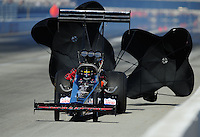 Feb. 10, 2012; Pomona, CA, USA; NHRA top fuel dragster driver Steve Chrisman during qualifying at the Winternationals at Auto Club Raceway at Pomona. Mandatory Credit: Mark J. Rebilas-