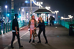 © Joel Goodman - 07973 332324. 26/09/2017. Brighton, UK. Revellers at the end of a night out on Brighton Promenade during Freshers week , when university students traditionally enjoy the bars and clubs during their first nights out in a new city . Photo credit : Joel Goodman