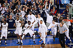 07 APR 2014: The University of Connecticut team bench celebrates their win over University of Kentucky in the closing moments during the 2014 NCAA Men's DI Basketball Final Four Championship at AT&T Stadium in Arlington, TX.  Connecticut defeated Kentucky 60-54 to win the national title. Brett Wilhelm/NCAA Photos