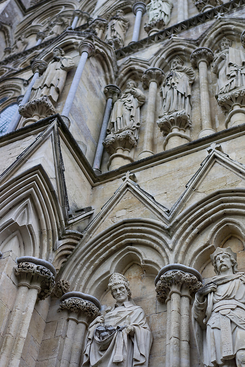 Exterior view of Salisbury Cathedral in Wiltshire, England
