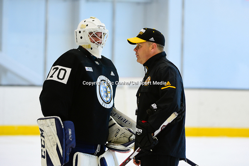 June 26, 2018: Boston Bruins goalie Jeremy Swayman (70) talks to a coach during the Boston Bruins development camp held at Warrior Ice Arena in Brighton Mass. Eric Canha/CSM