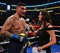 DALLAS, TX - MARCH 16: Fox's Heidi Androl interviews Chris Arreola after his defeat of Jean Pierre Agustin at the Fox Sports PBC Pay-Per-View fight night at AT&T Stadium on March 16, 2019 in Dallas, Texas. (Photo by Frank Micelotta/Fox Sports/PictureGroup)
