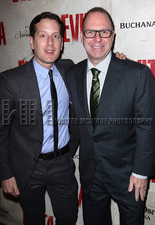 Scott Sanders & Partner Brad.attending the Broadway Opening Night Performance of 'EVITA' at the Marquis Theatre in New York City on 4/6/2012