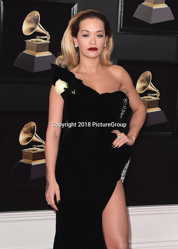 NEW YORK - JANUARY 28:  Rita Ora at the 60th Annual Grammy Awards at Madison Square Garden on January 28, 2018 in New York City. (Photo by Scott Kirkland/PictureGroup)