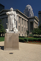 AJ4181, Louisville, Kentucky, Statue of Louis XVI outside the Jefferson County Courthouse in downtown Louisville in the state of Kentucky.