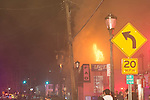 March 1, 2014 - Huntington, New York, U.S. - A dangerous fire rages in the heart of Huntington village, on New York Avenue. Firefighters came from many surrounding towns of Suffolk County, Long Island, and huge clouds of smoke lit up the night sky for blocks.