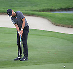 Patrick Rodgers putts during the Barracuda Championship PGA golf tournament at Montrêux Golf and Country Club in Reno, Nevada on Friday, July 26, 2019.