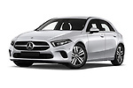 Stock pictures of low aggressive front three quarter view of a 2019 Mercedes Benz A Class Progressive 5 Door Hatchback