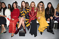 Georgia May Foote, Charlotte De Carle, Ella Eyre and Zara Martin<br /> at the Teatum Jones AW17 show as part of London Fashion Week AW17 at 180 Strand, London.<br /> <br /> <br /> &copy;Ash Knotek  D3230  17/02/2017