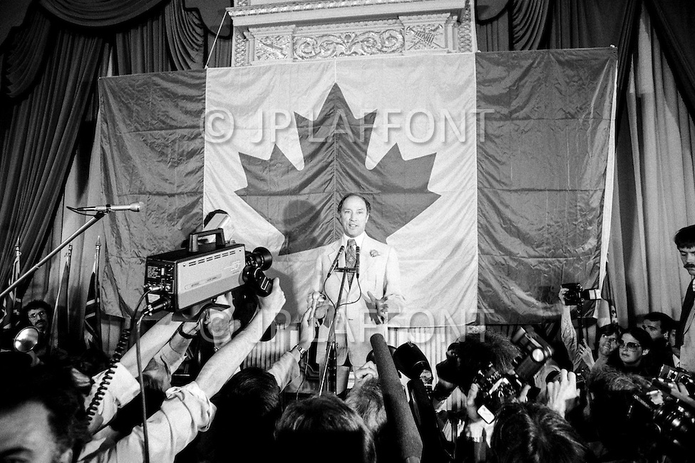 May 1979, Canada --- Canadian Prime Minister Pierre Trudeau at a press conference after his government was defeated by the Progressive Conservatives led by Joe Clark at the legislative elections on the 22 May, 1979. --- Image by © JP Laffont