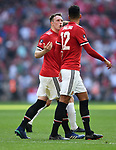 Phil Jones of Manchester United with Chris Smalling of Manchester United during the FA cup semi-final match at Wembley Stadium, London. Picture date 21st April, 2018. Picture credit should read: Robin Parker/Sportimage