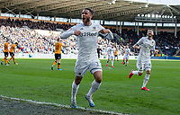 Leeds United's Tyler Roberts celebrates scoring his side's third goal <br /> <br /> Photographer Alex Dodd/CameraSport<br /> <br /> The EFL Sky Bet Championship - Hull City v Leeds United - Saturday 29th February 2020 - KCOM Stadium - Hull<br /> <br /> World Copyright © 2020 CameraSport. All rights reserved. 43 Linden Ave. Countesthorpe. Leicester. England. LE8 5PG - Tel: +44 (0) 116 277 4147 - admin@camerasport.com - www.camerasport.com