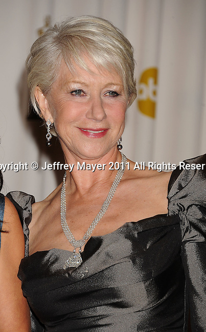 HOLLYWOOD, CA - FEBRUARY 27: Helen Mirren poses in the press room during the 83rd Annual Academy Awards held at the Kodak Theatre on February 27, 2011 in Hollywood, California.