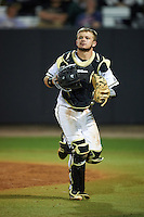 UCF Knights catcher Logan Heiser (1) during a game against the Siena Saints on February 17, 2017 at UCF Baseball Complex in Orlando, Florida.  UCF defeated Siena 17-6.  (Mike Janes/Four Seam Images)