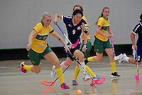 Japan&rsquo;s Eriko Chiba and Australia&rsquo;s Blaise Hodges in action during the World Floorball Championships 2017 Qualification for Asia Oceania Region Final - Australia v Japan at ASB Sports Centre , Wellington, New Zealand on Sunday 5 February 2017.<br /> Photo by Masanori Udagawa<br /> www.photowellington.photoshelter.com.