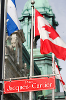 Montreal (Qc) CANADA, March 2007 File Photo<br /> <br /> Quebec, Canada and Montreal City Flags in front of Montreal City hall near the<br /> Place Jacques-Cartier in Old-Montreal<br /> <br /> .<br /> photo : (c) images Distribution