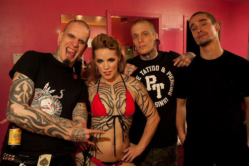 L ro R: Lassi Lindquist of Snake Oil Sideshow from Finland, World Champion Pole Dancer Pantera Blacksmith, Jussi Ranta and Wisa Knuuttila of Snake Oil Sideshow. The Freaks & Fetish Party kicked off the second annual Dallas Suscon, or suspension convention, in Dallas, Texas. Body suspension has gained mainstream exposure in recent years and suspension experts at Dallas Suscon are promoting safety and awareness.