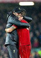 Liverpool manager J&uuml;rgen Klopp celebrates after the game with Dejan Lovren<br /> <br /> Photographer AlexDodd/CameraSport<br /> <br /> The Premier League - Liverpool v Manchester United - Sunday 16th December 2018 - Anfield - Liverpool<br /> <br /> World Copyright &copy; 2018 CameraSport. All rights reserved. 43 Linden Ave. Countesthorpe. Leicester. England. LE8 5PG - Tel: +44 (0) 116 277 4147 - admin@camerasport.com - www.camerasport.com