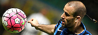 Calcio, Coppa Italia: semifinale di ritorno Inter vs Juventus. Milano, stadio San Siro, 2 marzo 2016. <br /> FC Inter&rsquo;s Rodrigo Palacio controls the ball during the Italian Cup second leg semifinal football match between Inter and Juventus at Milan's San Siro stadium, 2 March 2016.<br /> UPDATE IMAGES PRESS/Isabella Bonotto