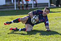 Craig Holland of London Scottish scores a try to make the score 22-41 during the Greene King IPA Championship match between London Scottish Football Club and Bedford Blues at Richmond Athletic Ground, Richmond, United Kingdom on 25 March 2017. Photo by David Horn / PRiME Media Images.
