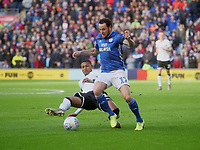Cardiff City's Lee Tomlin is tackled by Swansea City's Rhian Brewster<br /> <br /> Photographer Ian Cook/CameraSport<br /> <br /> The EFL Sky Bet Championship - Cardiff City v Swansea City - Sunday 12th January 2020 - Cardiff City Stadium - Cardiff<br /> <br /> World Copyright © 2020 CameraSport. All rights reserved. 43 Linden Ave. Countesthorpe. Leicester. England. LE8 5PG - Tel: +44 (0) 116 277 4147 - admin@camerasport.com - www.camerasport.com