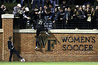 WINSTON-SALEM, NC - NOVEMBER 24: Machop Chol #21 of Wake Forest University celebrates his goal by climbing the wall during a game between Maryland and Wake Forest at W. Dennie Spry Stadium on November 24, 2019 in Winston-Salem, North Carolina.
