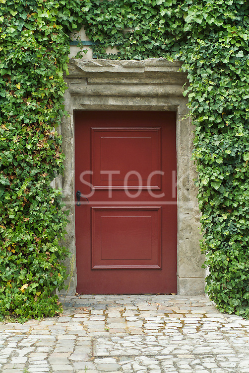 Vladimir Godnik vertical front door ivy still life entrance entryway exit red doorway stone cobblestone walkway wood wooden rustic structure building house home housing residence residential real estate outdoor outside exterior plant vegetation decorative foliage vine summer summertime