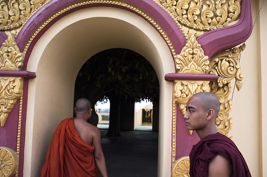 Monks at Mae Soe Yein monastery in Mandalay. Ashin Wirathu, one of the head monks at the monastery, is the most vocal advocator of  the 969 movement that encourages Buddhists to only shop at Buddhist owned shops with stickers to identify them.