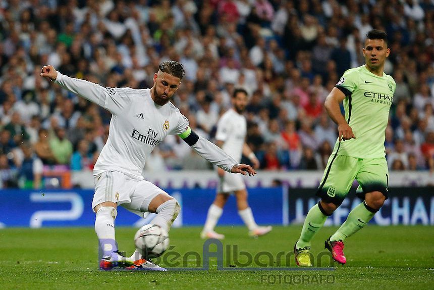 Real Madrid's Spanish defense Sergio Ramos during the UEFA Champions League match between Real Madrid and Manchester City at the Santiago Bernabeu Stadium in Madrid, Wednesday, May 4, 2016.