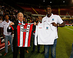 Kevin McCabe swaps shirts with West Indian Captain Jason Holder during the Carabao Cup, second round match at Bramall Lane, Sheffield. Picture date 22nd August 2017. Picture credit should read: Simon Bellis/Sportimage