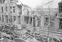 Photo from the NIOD's Huizinga collection. Damage to buildings after Bezuidenhout was accidentally bombed by the British on March 3, 1945. Menno Huizinga was part of the Hidden Camera and took pictures illegally during the occupation. He did this mainly in his hometown The Hague.