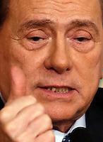 Il presidente di Forza Italia Silvio Berlusconi tiene una conferenza stampa per la presentazione del nuovo Dipartimento Cultura del partito a Roma, 7 maggio 2014.<br /> Forza Italia Party's president Silvio Berlusconi attends a press conference in Rome, 7 May 2014.<br /> UPDATE IMAGES PRESS/Riccardo De Luca