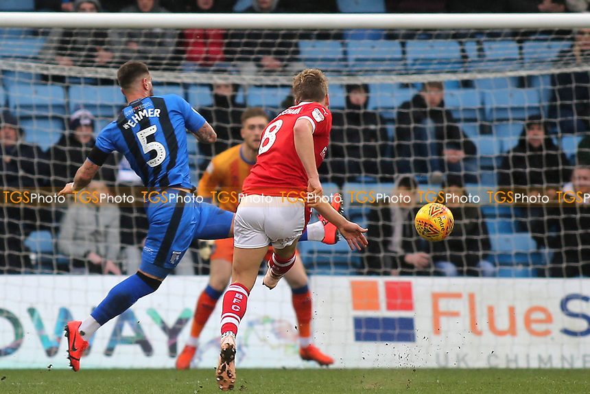 Cameron McGeehan of Barnsley hits a shot just wide of the Gillingham goal during Gillingham vs Barnsley, Sky Bet EFL League 1 Football at The Medway Priestfield Stadium on 9th February 2019