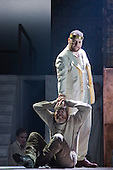 """Pictured: Roland Wood as Oedipus and Paul Sheehan as Shepherd. Dress rehearsal of Thebans. English National Opera gives world premiere of British composer Julian Anderson's first opera """"Thebans"""" at the London Coliseum. Thebans is based on the three Theban plays by Sophocles that chronicle the cursed life of Oedipus and his daughter Antigone. Thebans opens at the London Coliseum on 3 May 2014 for 7 performances. The new production is supported by The Boltini Trust, PRS for Music Foundation and ENO's Contemporary Opera Group, a co-production with Theater Bonn in Germany. With Roland Wood as Oedipus, Peter Hoare as Creon (Jocasta's brother), Matthew Best as Tiresias (blind prophet), Susan Bickley as Jocasta (Oedipus' mother/wife) and Julia Sporsen as Antigone (Oedipus' daugher). Score by Julian Anderson, libretto by Frank McGuinness, directed by Pierre Audi and conducted by Edward Gardner."""