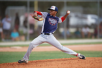 Isaiah Coupet (4) during the WWBA World Championship at the Roger Dean Complex on October 13, 2019 in Jupiter, Florida.  Isaiah Coupet attends Homewood Flossmoor High School in Flossmoor, IL and is committed to Ohio State.  (Mike Janes/Four Seam Images)